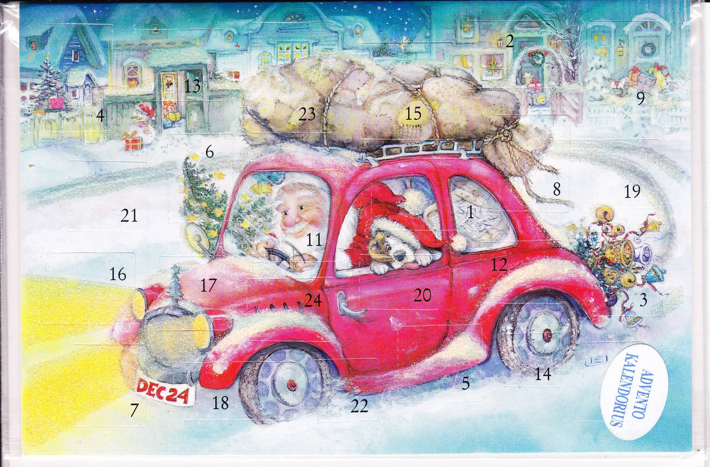Новогодняя открытка красная машина